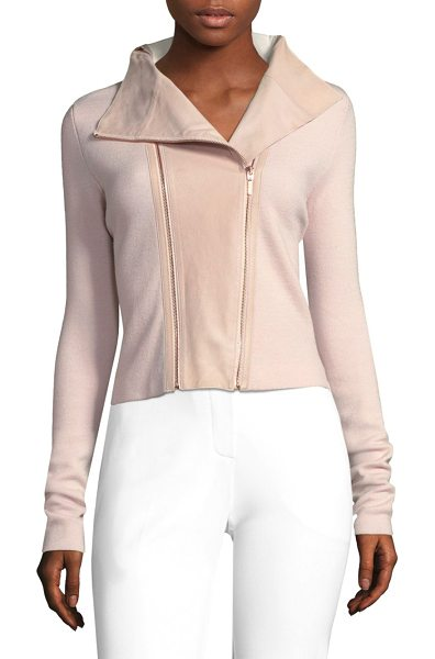 Elie Tahari amanka wool biker jacket in gentle blush - Tailored moto jacket in unique merino wool. Notch...