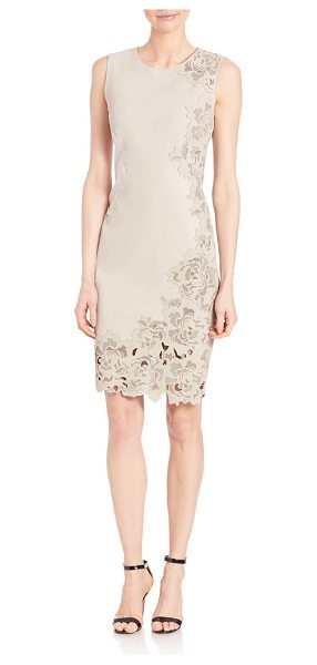 Elie Tahari avital dress in sand - Sleek leather dress with laser-cut floral accent....