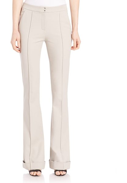 Elie Tahari bailee pants in sand - Polished stretch twill pants with cuffed finish. Paneled...