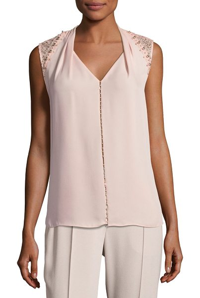 "ELIE TAHARI Barbara Lace-Trim Silk Blouse w/ Pearly Embellishments - """"Barbara"" silk blouse by Elie Tahari features mixed..."