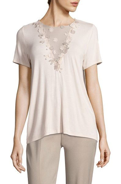 Elie Tahari brielle knit ballerina blouse in ballerina - Beautiful floral detail on front lends a feminine grace....