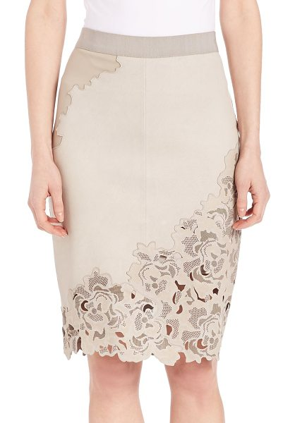 Elie Tahari Bryana lasercut leather skirt in sand - EXCLUSIVELY AT SAKS FIFTH AVENUE. Sleek leather pencil...