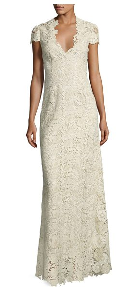 Elie Tahari Cap-Sleeve Metallic Lace Column Gown in creme/gold - EXCLUSIVELY AT NEIMAN MARCUS Elie Tahari evening gown in...
