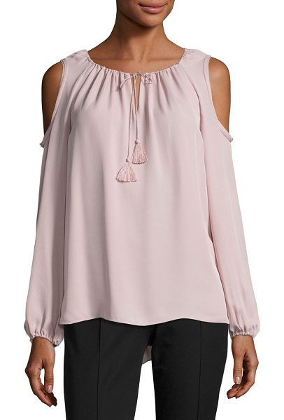 Elie Tahari Cathy Cold-Shoulder Silk Blouse in pink - ONLYATNM Only Here. Only Ours. Exclusively for You. Elie...