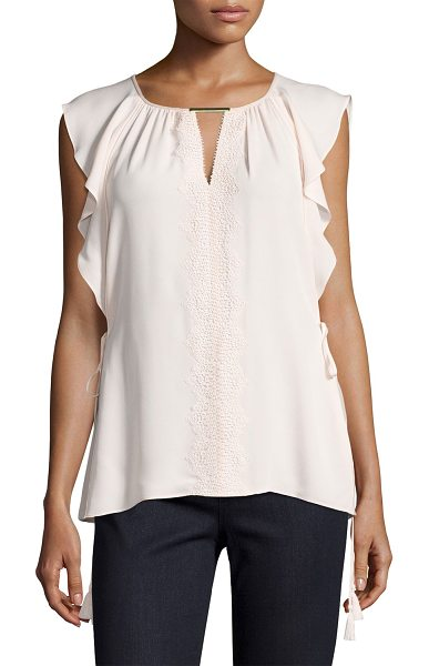 "Elie Tahari Coline Lace-Trim Tasseled Silk Blouse in light pink - Elie Tahari ""Coline"" lace-trimmed silk blouse features..."