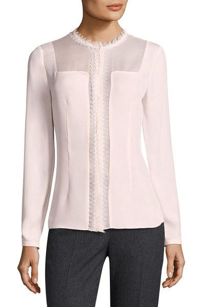 Elie Tahari coretta sheer insert silk blouse in ballerina - Sleek lace trimmed silk blouse with sheer inserts....