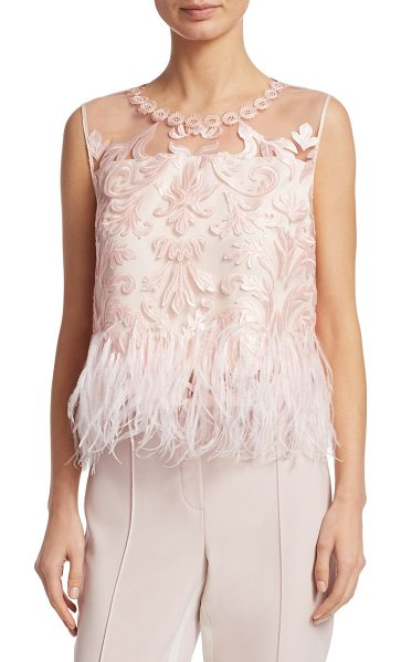 Elie Tahari dakotra blouse in gentle blush - Luxurious lace and ostrich feathers adorn top....