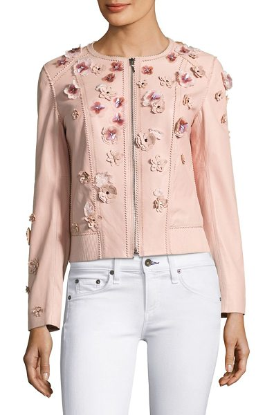 ELIE TAHARI embellished leather bomber jacket - Buttery soft leather shapes a retro-style layer finished...