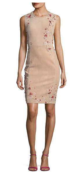 """Elie Tahari Emily Sleeveless Suede Floral Applique Dress in gentle blush - Elie Tahari """"Emily"""" dress in suede, featuring 3D floral..."""