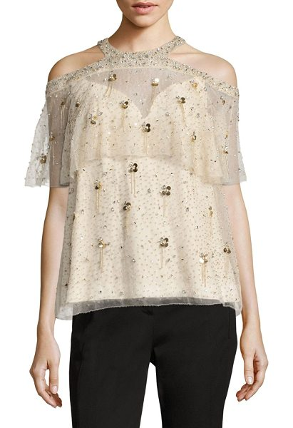 Elie Tahari genevieve silk cold shoulder blouse in nude - Silk blouse with overlay and metallic details....