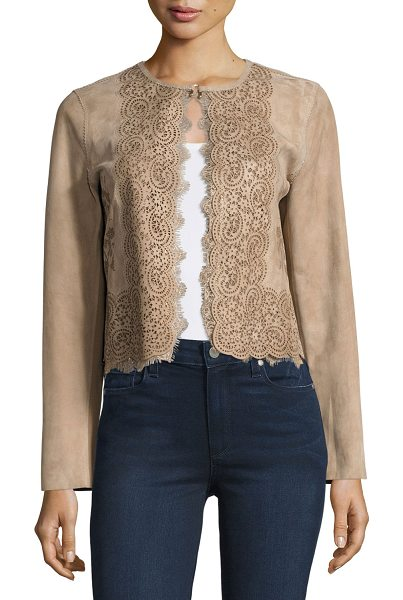 "Elie Tahari Karlene Needle-Punched Cropped Suede Jacket in brown - Elie Tahari ""Karlene"" suede jacket features elaborate..."