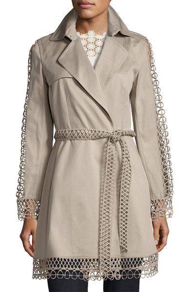"ELIE TAHARI Kathy Lace-Trimmed Trench Coat - Kathy"" cotton trench coat by Elie Tahari features..."