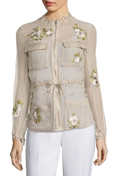 Elie Tahari katya silk cargo organza jacket in bamboo - Fashionable jacket adorned with floral embroidery....