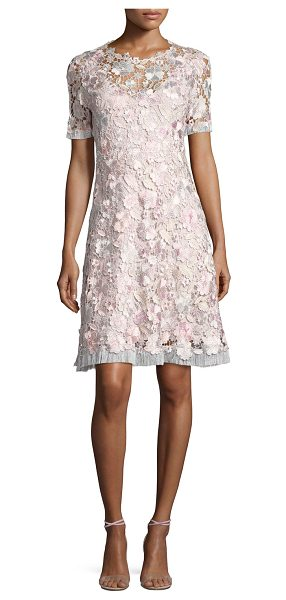 "Elie Tahari Laura Short-Sleeve Lace Dress in pink pattern - Elie Tahari ""Laura"" dress features sheer, embroidered..."