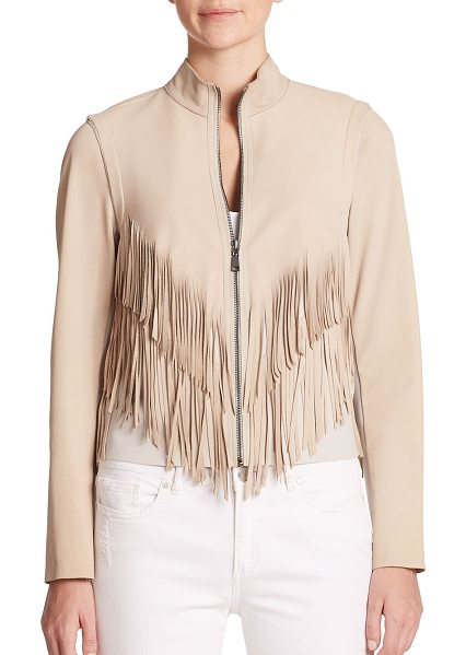 Elie Tahari Paulina suede fringed jacket in sand - Tiered fringe trim highlights this texturally diverse...