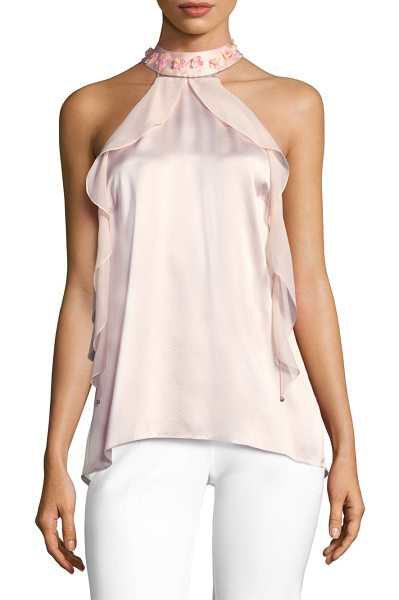 Elie Tahari renna silk ruffle blouse in gentle blush - Delicate silk blouse with feminine ruffle tiers and...