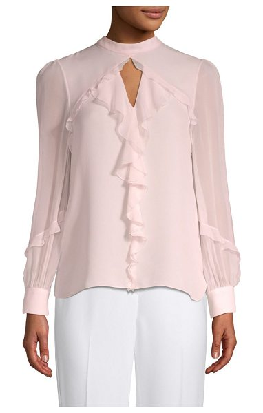 Elie Tahari vianna silk blouse in soft powder - Long sleeve silk double Georgette blouse with banded...