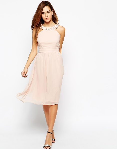 Elise Ryan 3d floral embellished halterneck midi skater dress in nude