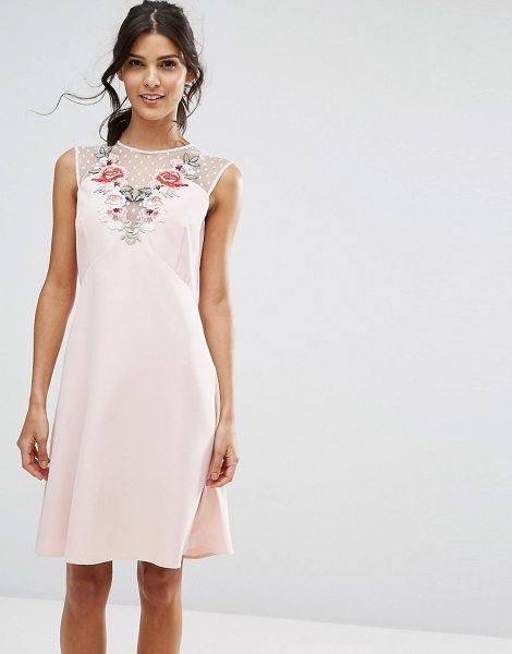 Elise Ryan a line dress in mesh and floral applique in pink