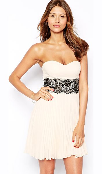 Elise Ryan Bandeau dress with scallop lace waist in nude - Hand Wash Only. Main: 100% Polyester Lining: 100%...