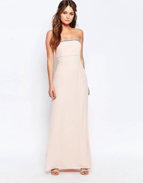 """Elise Ryan Bandeau Maxi Dress With Embellished Trim in pink - """"""""Maxi dress by Elise Ryan, Woven fabric, Bandeau..."""