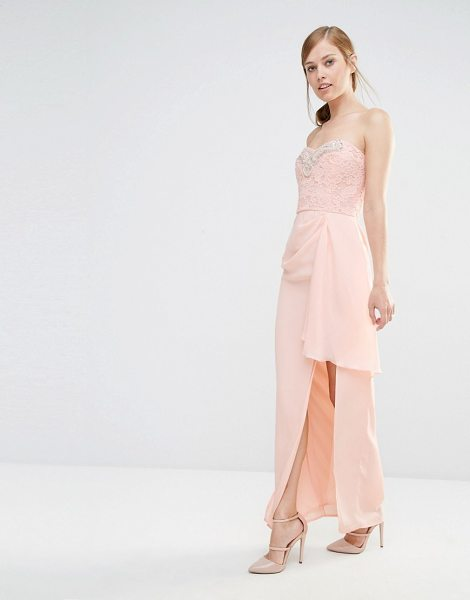 "ELISE RYAN Bandeau Maxi Dress With Lace Bodice & Embellishment - """"Maxi dress by Elise Ryan, Lined woven fabric,..."