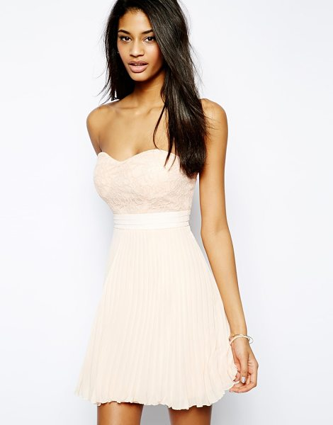 Elise Ryan Bandeau skater dress with lace top in nude - Skater dress by Elise Ryan Made from a breathable woven...