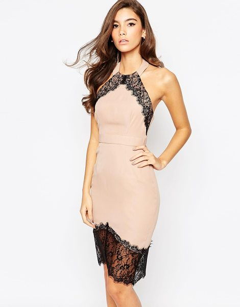 ELISE RYAN Body-Conscious Dress With Asymmetric Lace Hem - Body-Conscious dress by Elise Ryan, Woven fabric, Halter...