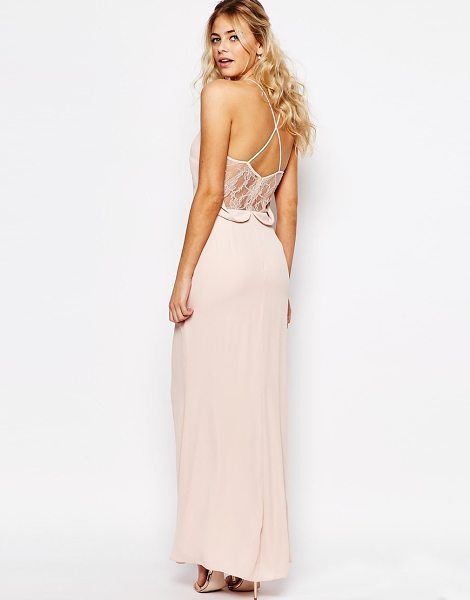 "Elise Ryan Cami Strap Maxi Dress With Dipped Lace Back in nude - """"Maxi dress by Elise Ryan, Lined woven fabric, V-neck,..."
