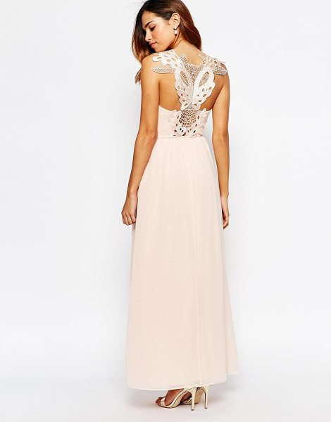 Elise Ryan Cowl Maxi Dress With Lace Applique Back in pink - Maxi dress by Elise Ryan, Lined chiffon, Cowl neckline,...