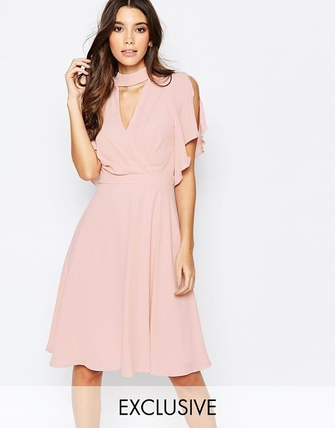 Elise Ryan Cross Front Midi Dress with Fluted Sleeve in pink - Midi dress by Elise Ryan, Woven Chiffon, Fully lined,...