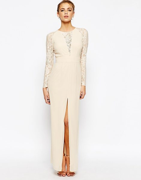 Elise Ryan Lace Maxi Dress With Deep V Plunge Neck and Thigh Split in cream - Lace dress by Elise Ryan, Woven fabric, Crew neck,...