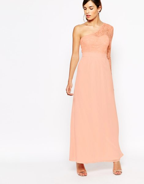 ELISE RYAN Lace one sleeve maxi dress in nude - Maxi dress by Elise Ryan Lined woven fabric Fitted...