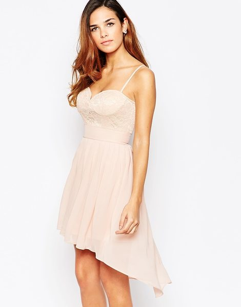 ELISE RYAN Lace Sweetheart Skater Dress With High Low Hem - Skater dress by Elise Ryan, Textured lace upper, Fully...