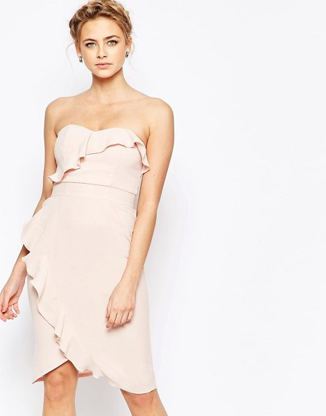 "Elise Ryan midi pencil dress with frill detail in nude - """"Pencil dress by Elise Ryan, Textured woven fabric,..."