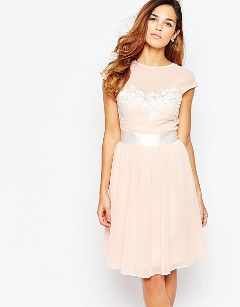 Elise Ryan Midi Skater Dress With Floral Lace Applique in pink - Midi dress by Elise Ryan, Lined woven fabric, Round mesh...