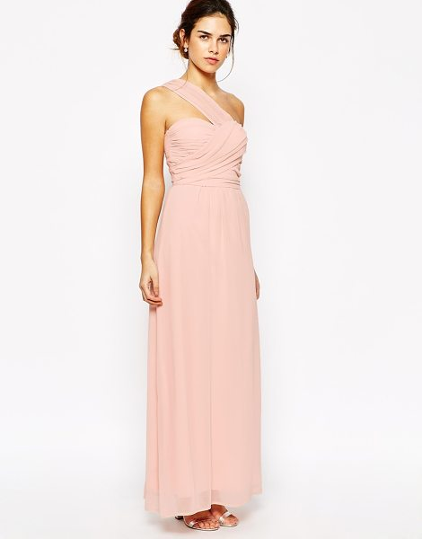 Elise Ryan One Shoulder Waisted Maxi Dress in pink - Dress by Elise Ryan, Lined chiffon fabric, One shoulder...