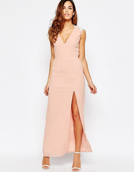 Elise Ryan Open back sleeveless maxi dress with lace trim and thigh split in pink - Maxi dress by Elise Ryan, Lightweight woven fabric,...