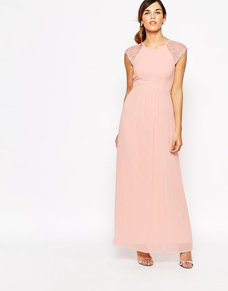 Elise Ryan Pleated Maxi Dress With Lace Sleeve in pink - Dress by Elise Ryan, Woven fabric, Crew neckline, Lace...