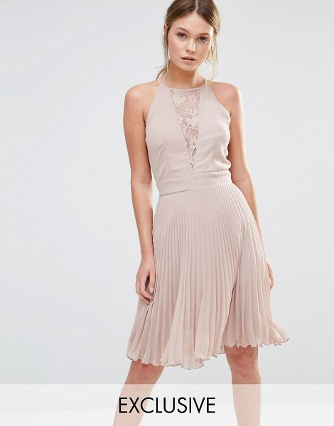 ELISE RYAN Pleated Mini Dress With Lace Insert - Dress by Elise Ryan, Woven fabric, High neckline,...