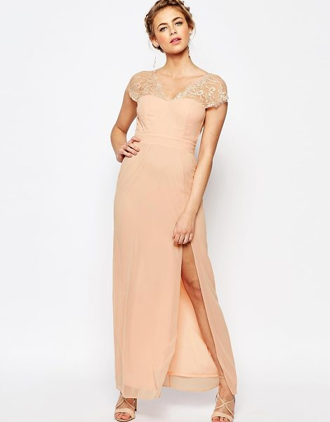 Elise Ryan Scalloped Lace Maxi Dress with V Back in pink - Maxi dress by Elise Ryan, Lined chiffon, V-neck, Lace...