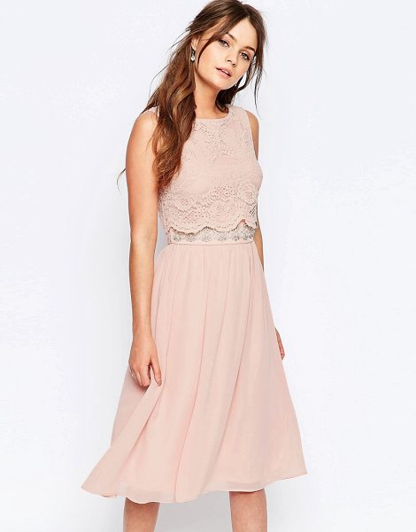 Elise Ryan Skater Dress With Scallop Lace Overlay in pink - Skater dress by Elise Ryan, Lined woven fabric, Cropped...