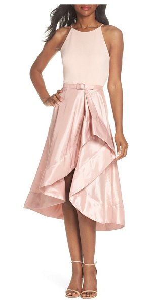 Eliza J asymmetrical tea length dress in blush - The scuba-crepe bodice provides smoothly fitted freedom...