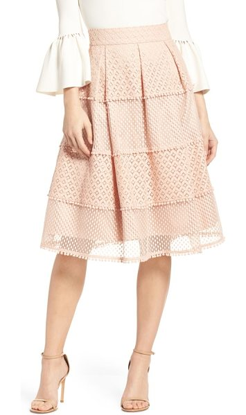 ELIZA J banded lace midi skirt in blush - A charming midi skirt is paneled in bands of lace and...