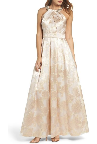 ELIZA J beaded halter neck gown in blush - This fluid A-line jacquard stunner accented with ornate...