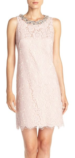 Eliza J embellished a-line dress in blush - Imitation pearls and sparkly jewels brighten the face in...