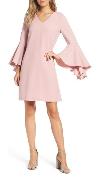 ELIZA J bell sleeve crepe shift dress - Oversized bell sleeves dramatically punctuate an...