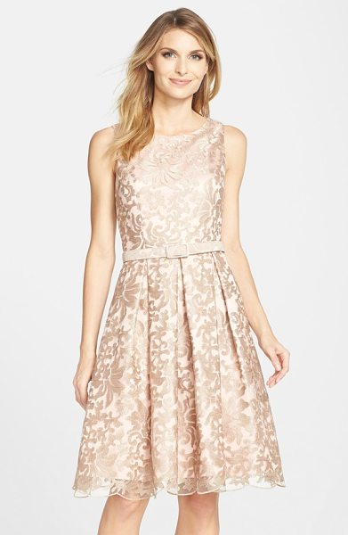 Eliza J belted embroidered mesh fit & flare dress in gold - A demure belt subtly nips in the waist of this radiant...