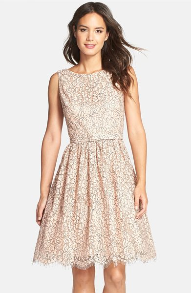 Eliza J belted lace fit & flare dress in blush - Floral lace in a pretty blush hue refreshes a feminine...