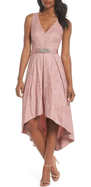 Eliza J belted lace high/low dress in blush - A blushing liner makes a sweet contrast for a romantic,...